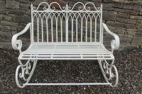 Shabby chic double metal rocking chair/bench in aged ...