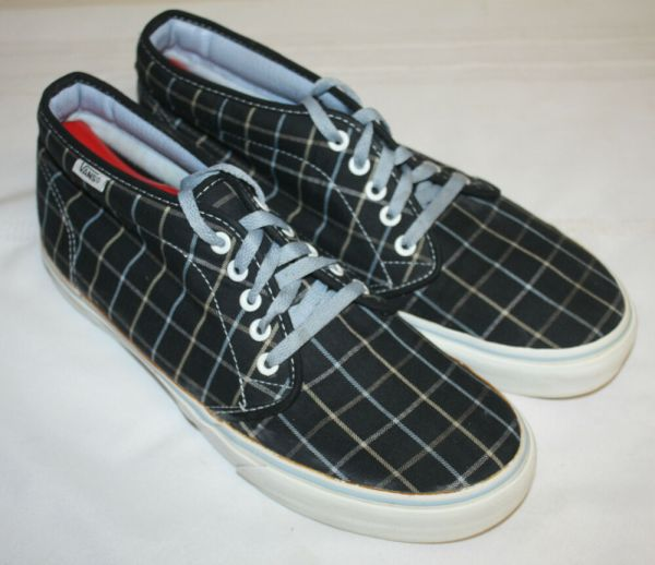 Mens Vans Navy Plaid Canvas Ankle Fashion Sneakers Shoes