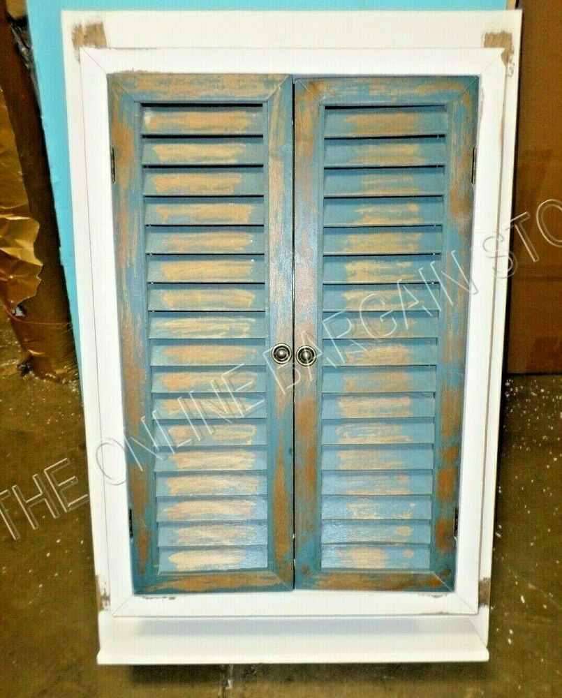 Wooden Shabby Rustic Distressed Bathroom Hallway Cabinet