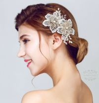 wedding hair clip pearl pearl bridal hair pin golden ...