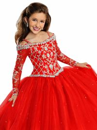 In Stock Girls Pageant Dresses With Long Sleeve Ball Gowns ...