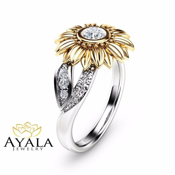 Unique Engagement Ring Natural Diamond Ring in 14K Two ...