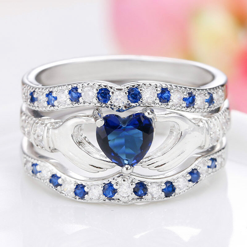 3Pcs Irish Claddagh Celtic Heart Sapphire 925 Silver Ring