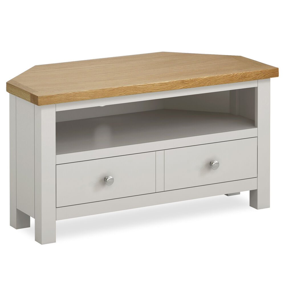 Farrow Painted Corner TV Stand / Small Stone Painted TV
