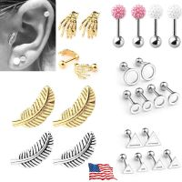 16G Steel Feather Barbell Ear Cartilage Tragus Helix Bar