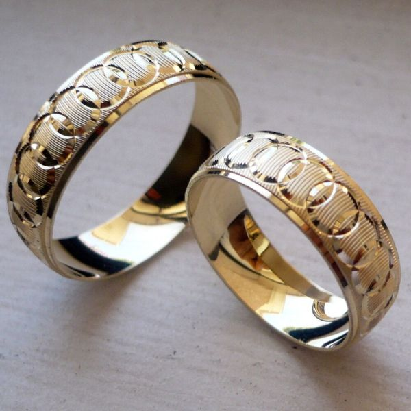 10k Solid Yellow Gold And Wedding Band Ring Set Sz 5-13 Free Engraving