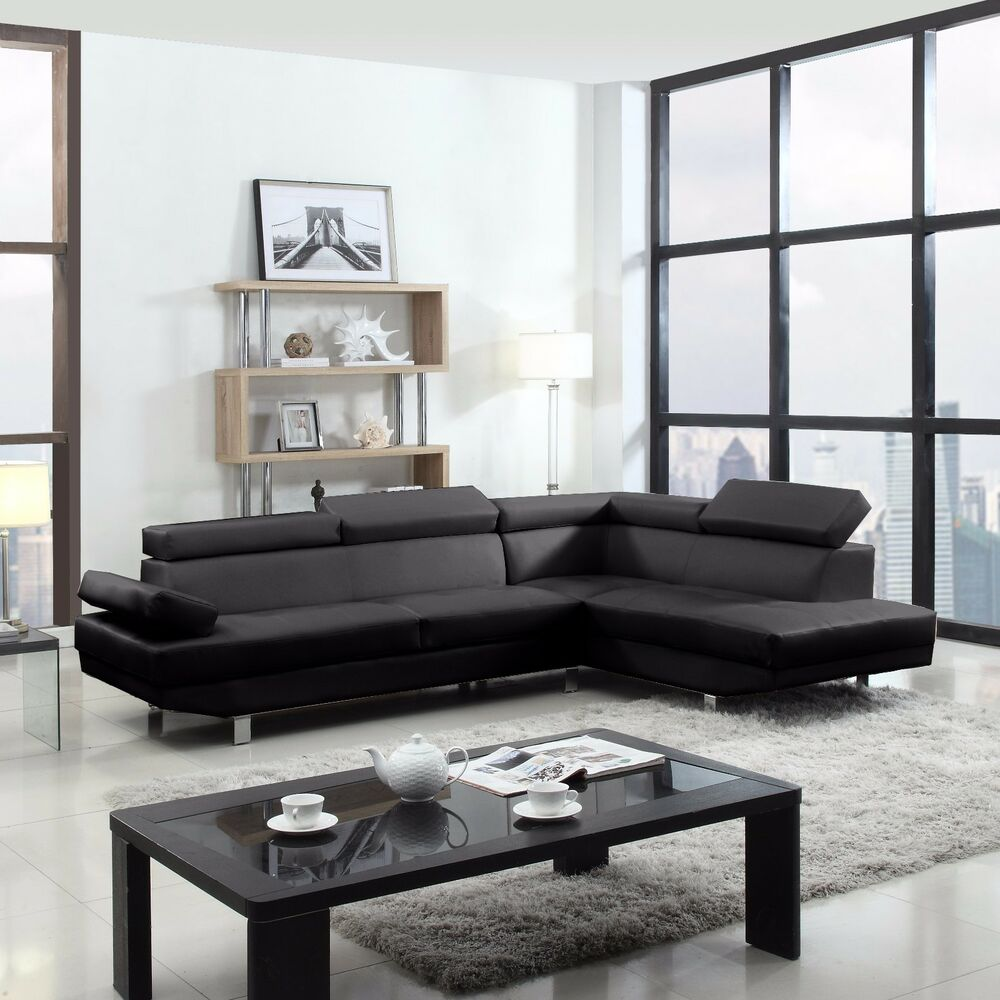 3pc recliner sofa set bed small uk 2 piece contemporary modern faux leather black sectional ...
