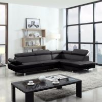 2 Piece Contemporary Modern Faux Leather Black Sectional ...