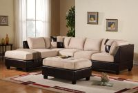 3PC Sectional Sofa Microsuede Faux Leather Beige with ...