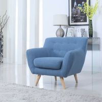 Mid Century Blue Modern Tufted Button Accent Chair Living ...
