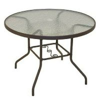 Round Patio Dining Table Glass Top Garden Outdoor ...