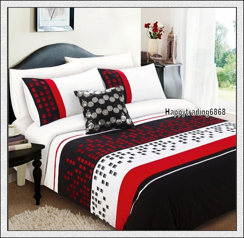 280TC Black Red White Pintuck Embroidered  3pc QUEEN