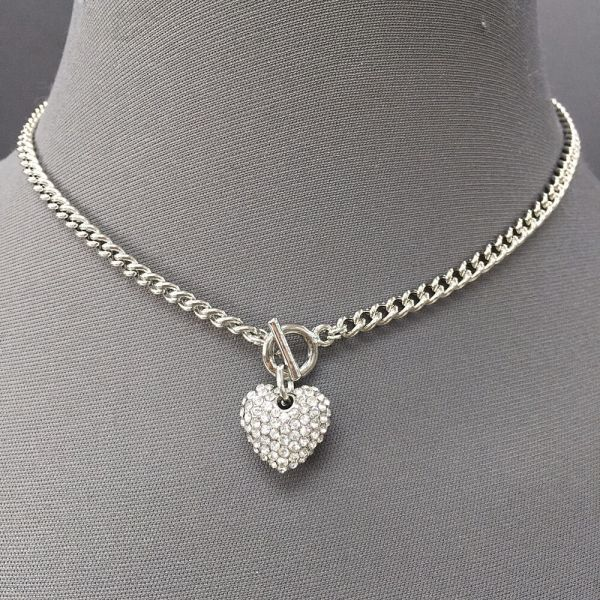 Silver Choker Necklace with Pendant