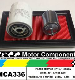 details about filter kit oil air fuel for nissan 300zx z31 vg30e 3l v6 turbo 5 1984 1989 [ 1000 x 934 Pixel ]