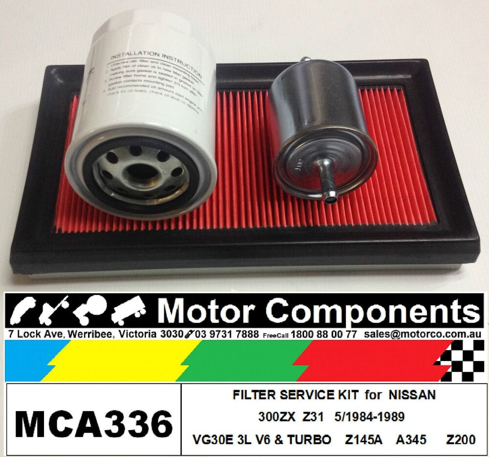 hight resolution of details about filter kit oil air fuel for nissan 300zx z31 vg30e 3l v6 turbo 5 1984 1989
