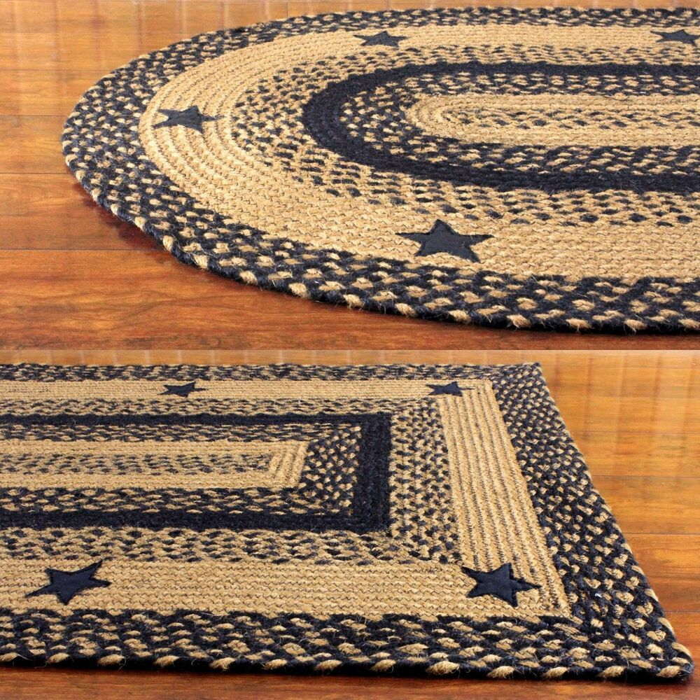 Braided Jute Rug Star Black Oval Rectangle Heart Ihf Home
