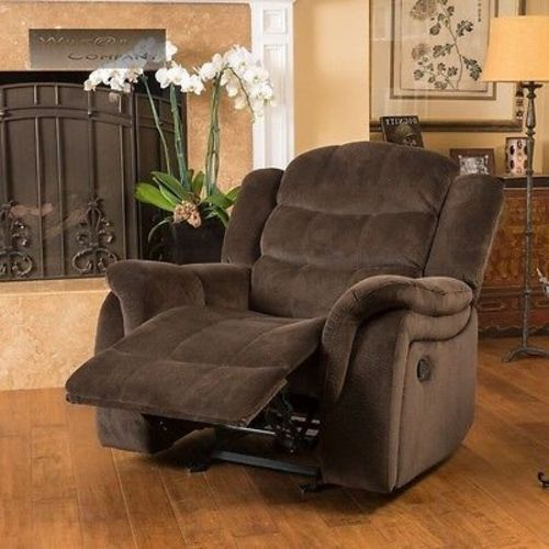 oversized swivel chairs for living room plastic chair with wooden legs india brown fabric recliner glider lazy reclining seat furniture boy | ebay