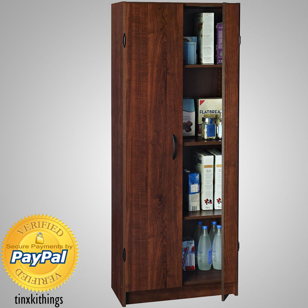 Wooden Tall Pantry Cabinet Storage Organizer Kitchen Bath