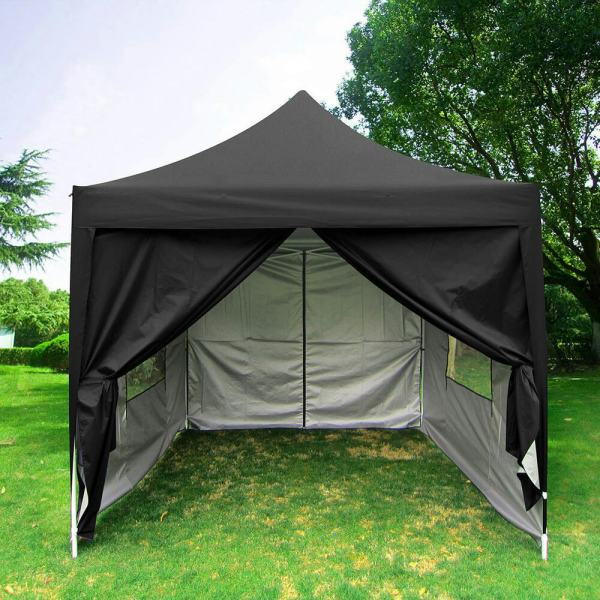 Quictent Privacy 8'x8'black Pyramid-roof Pop Party Tent Canopy Gazebo Curtain