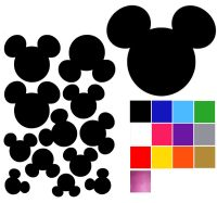 Mickey Mouse Shaped Wall Stickers x 12. Mickey Mouse Head ...