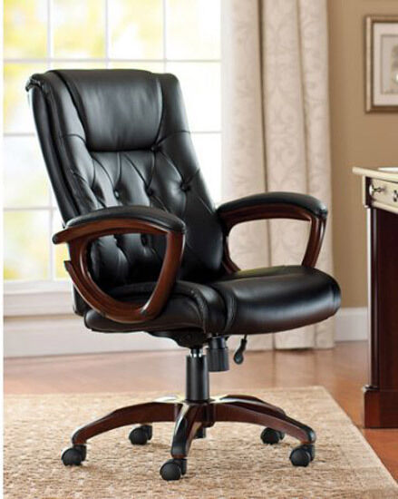tufted leather executive office chair Leather High Back Tufted Office Chair Executive Reception Computer Ergonomic Tal | eBay