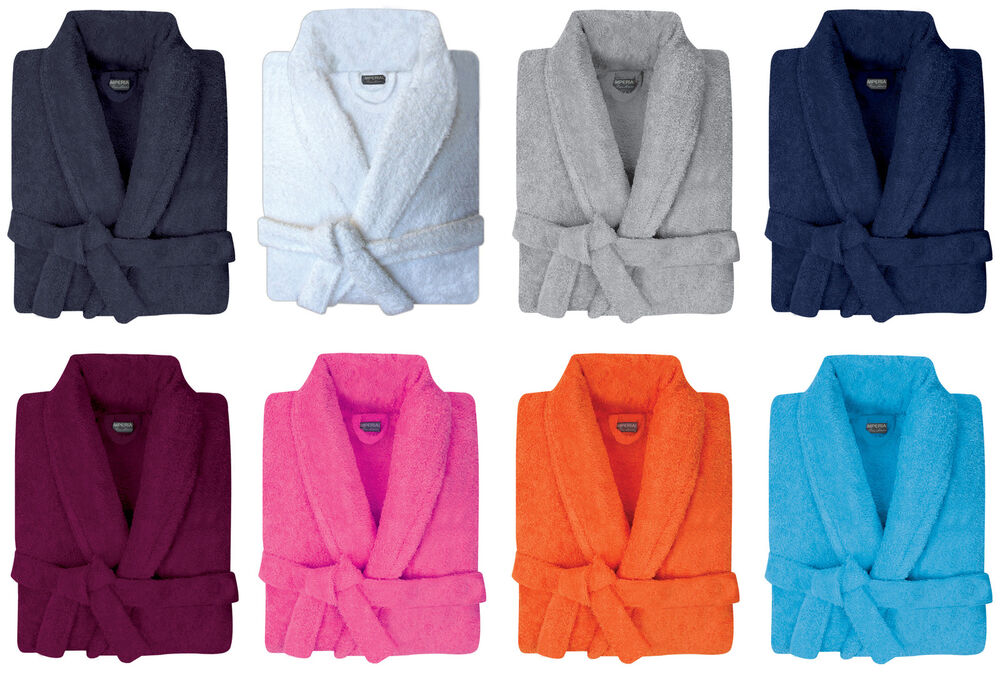 MENS & WOMENS 100% COTTON TERRY TOWELLING SHAWL COLLAR
