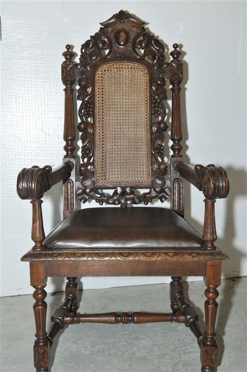 French Hunt Arm Chair, Antique 19th Century, Oak With Cane