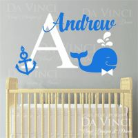 Custom Name Wall Decal Sticker Monogram Vinyl Whale ...
