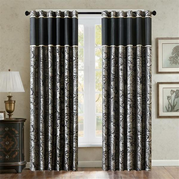 black and gold bedroom curtains Luxurious Black Gold Jacquard Paisley Window Panel