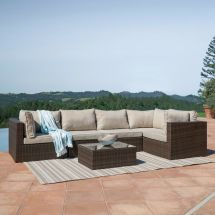 Outdoor Patio 6pc Sectional Furniture Pe Wicker Rattan