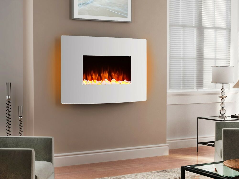 Endeavour Fires Egton White Wall Mounted Electric Fire White Curved Glass  eBay