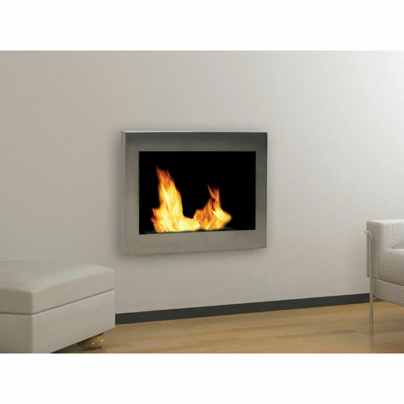Anywhere Fireplace SoHo Silver Wall Mounted Stainless Steel Bio Fuel Smoke Free  eBay