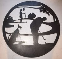 "Golf Scene Steel Wall Art 24"" Diameter PGA LPGA Golfer ..."