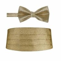 Mens Gold Metallic Pre tied Bow tie and Matching ...