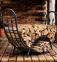 Log Holder Iron Firewood Rack Fireplace Wood Storage Black ...