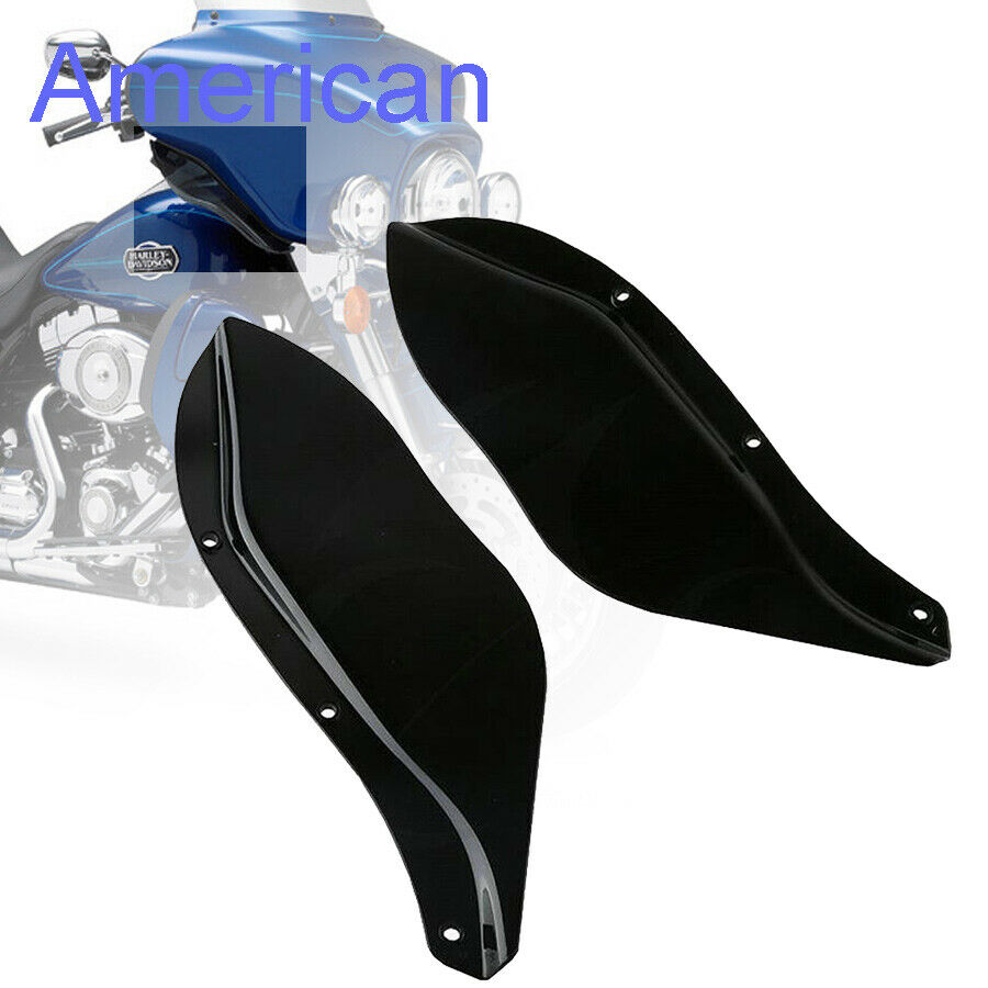 Black ABS Side Air Deflectors Windshield For Harley