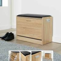 Ottoman Shoe Cabinet Seat Storage Closet Wooden Rack
