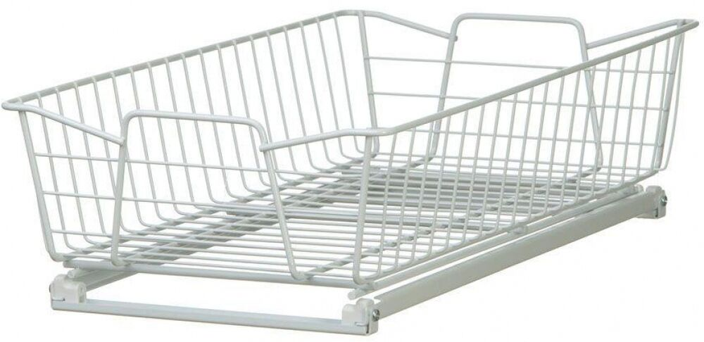White Wire Cabinet Organizer, Pull-Out Basket, Sliding