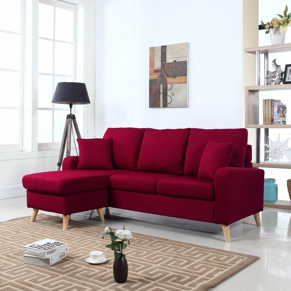 Modern Fabric Small Space Sectional Sofa w Reversible Chaise in Red  eBay