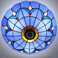Tiffany Style Stained Glass Ceiling Lighting Fixture Flush ...
