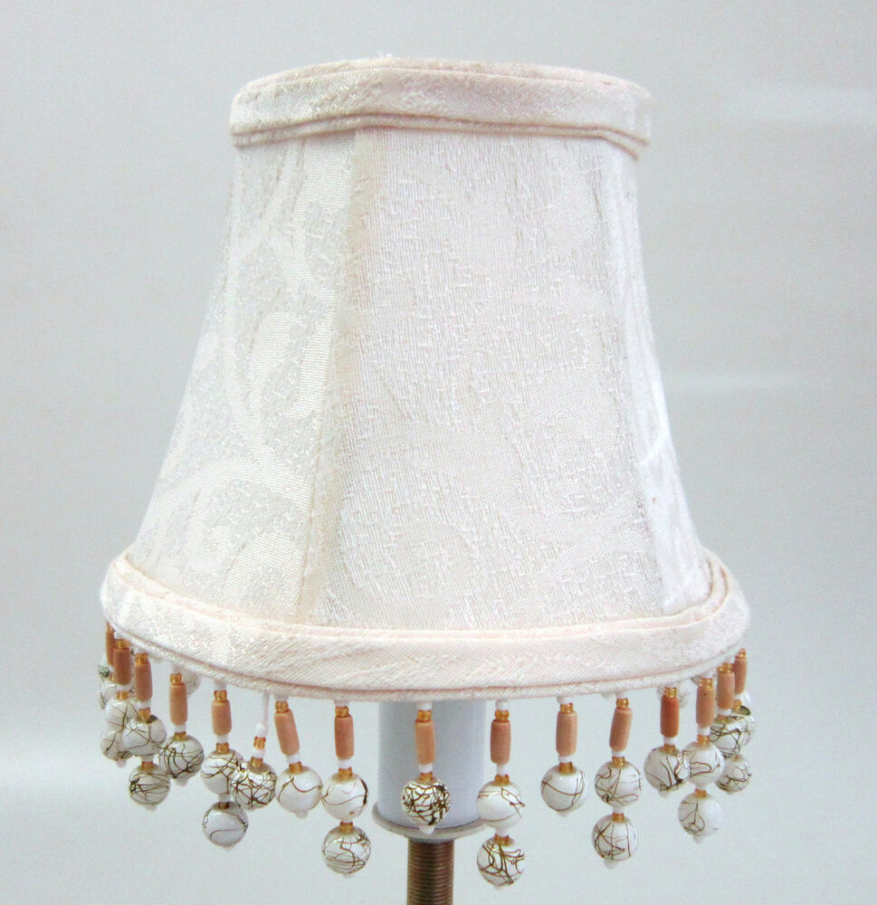Cream Damask Chandelier Mini Lamp Shades Softback with