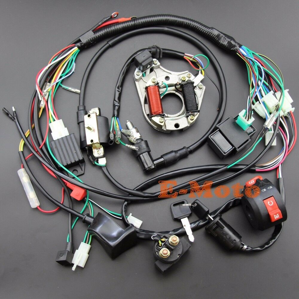 110 Quad Wiring Diagram For Ignition Switch Full Electrics Wiring Harness 50 70 90 110 125cc Atv Quad