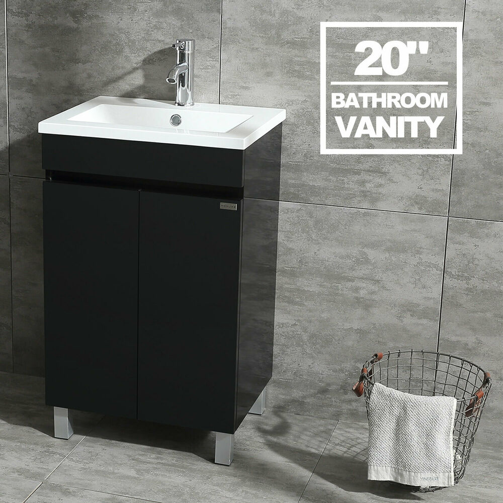 Black Bathroom Vanity Cabinet Wood Set With Undermount