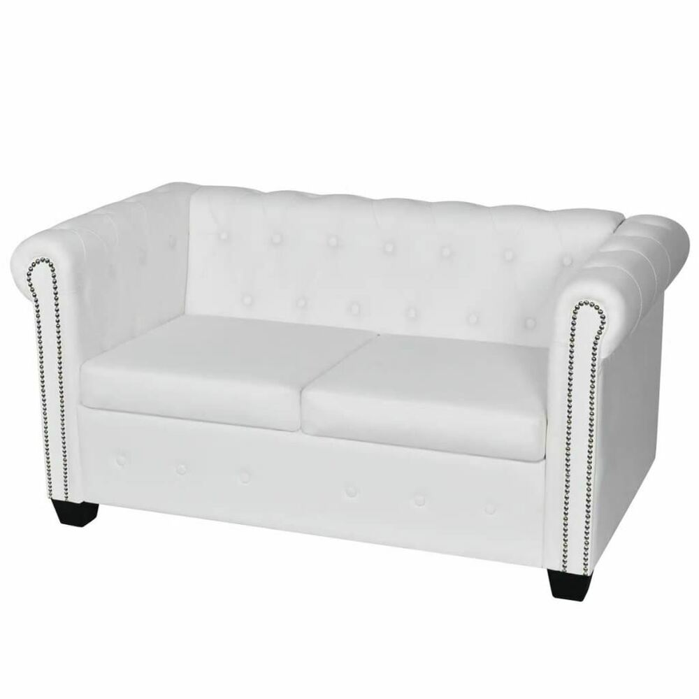 tufted button sofa grey corner lounge ideas vidaxl chesterfield white bond leather 2 seater details about scroll arm