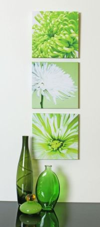 Lime Green Chrysanthemums Flower Floral Set of 3 Canvas ...