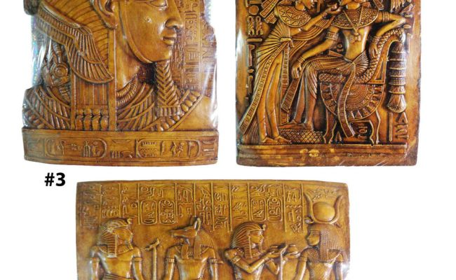 Egyptian Wall Hanging Plaque King Tut Cleopatra Decor
