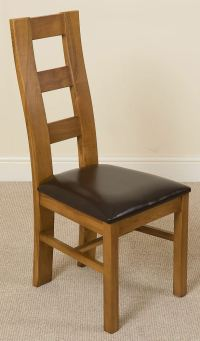 Yale Solid Oak Rustic Wood & Brown Leather Dining Chair ...