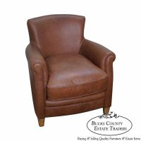 Pottery Barn Brown Leather Club Chair | eBay