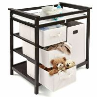 Espresso Infant Baby Changing Table w/3 Basket Hamper ...