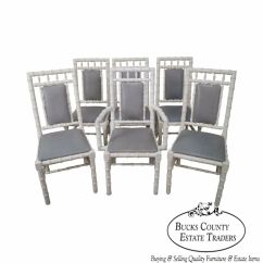 Bamboo Dining Chair Swivel Ring Base Hollywood Regency Vintage Set Of 6 White Painted Faux Details About Chairs